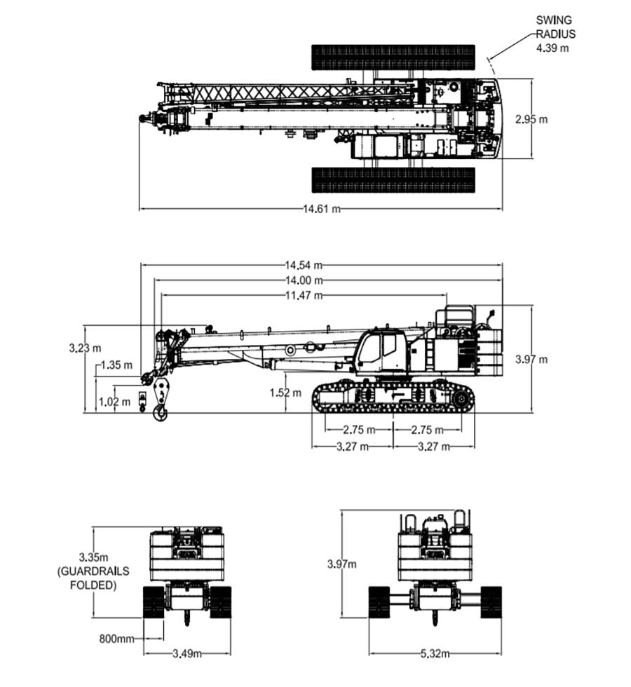 cẩu bánh xích Tadano GTC-800